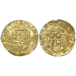 Seville, Spain, cob 2 escudos, Philip II, assayer Gothic D below mintmark S to left, encapsulated NG
