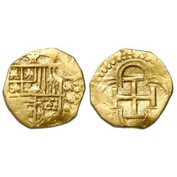 Seville, Spain, cob 1 escudo, 1590, date to right, assayer (Gothic D to left) not visible, rare.