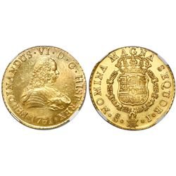 Santiago, Chile, bust 8 escudos, Ferdinand VI, 1751J, encapsulated NGC MS 63, from the Luz (1752).