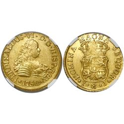 Santiago, Chile, bust 4 escudos, Ferdinand VI, 1750/5J, encapsulated NGC MS 61, from the Luz (1752),