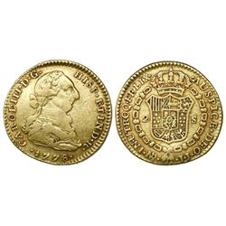 Bogota, Colombia, bust 2 escudos, Charles III, 1778JJ.