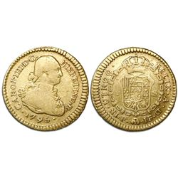 Popayan, Colombia, bust 1 escudo, Charles IV, 1795JF.