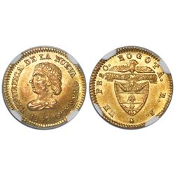 Bogota, Colombia, 1 peso, 1842RS, encapsulated NGC MS 64, tied for finest known in NGC census, ex-Li