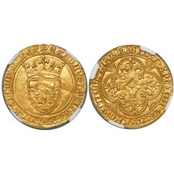 France, ecu d'or au couronne, Charles VI, (1380-1422), encapsulated NGC MS 62.