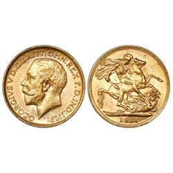 Great Britain (London, England), sovereign, George V, 1911.