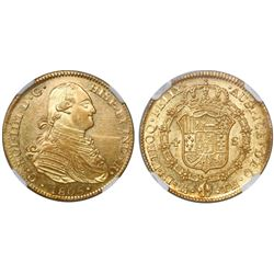 Mexico City, Mexico, bust 4 escudos, Charles IV, 1805TH, encapsulated NGC AU 55, finest known in NGC