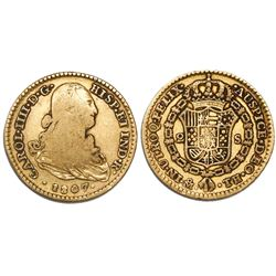 Mexico City, Mexico, bust 2 escudos, Charles IV, 1807TH.