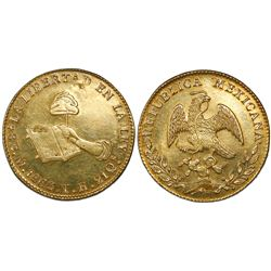 Contemporary counterfeit in gold of a Mexico City, Mexico, 8 escudos, 1863TH.