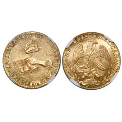 Mexico City, Mexico, 2 escudos, 1825JM, encapsulated NGC MS 63, finest known in NGC census.