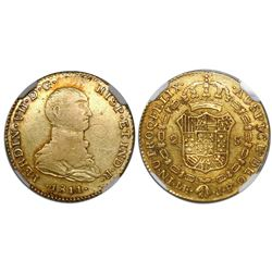 "Lima, Peru, bust 2 escudos, Ferdinand VII (small, ""imaginary"" bust), 1811JP, encapsulated NGC XF det"