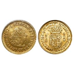 Lima, Peru, bust 1 escudo, Ferdinand VI, 1751J, encapsulated NGC VF 35, finest and only specimen in