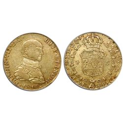 "Lima, Peru, bust 1 escudo, Ferdinand VII (""imaginary"" bust), 1810JP, encapsulated NGC XF 40."