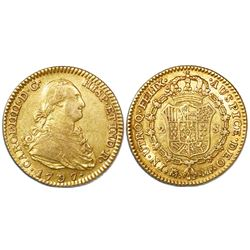 Madrid, Spain, bust 2 escudos, Charles IV, 1797MF.