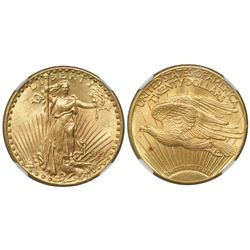 USA (Philadelphia mint), $20 (double eagle) St. Gaudens, 1927, encapsulated NGC MS 63.