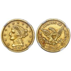 USA (Charlotte mint), $2-1/2 (quarter eagle) coronet Liberty, 1847-C, encapsulated NGC AU details /