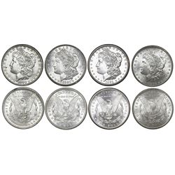 Lot of four USA (all different mints) $1 Morgan, as follows: 1881-S, 1882, 1883-O and 1921-D.