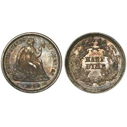 USA (Philadelphia mint), half dime (5c) seated Liberty, 1862.