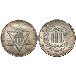 USA (Philadelphia mint), silver 3 cents, 1861.