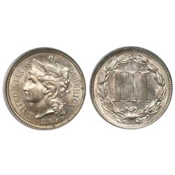USA (Philadelphia mint), copper-nickel 3 cents, 1865, encapsulated PCGS MS63 (old green tag).