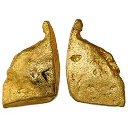 "Gold ""oro corriente"" cut piece with stamp ""C"" for Charles I of Spain, 52.18 grams, from an unidentif"
