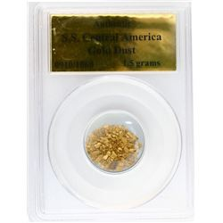 Natural gold flakes and dust, 1.5 grams, encapsulated PCGS Authentic / S.S. Central America (1857).