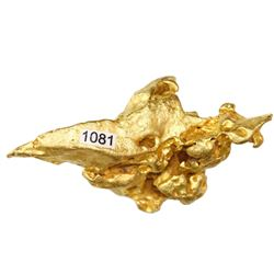 Large, irregular gold nugget, 65.39 grams.