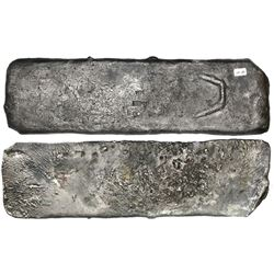 Medium-sized  tumbaga  silver bar #M-89, 4250 grams, stamped with assayer BRAo, serial number RC and