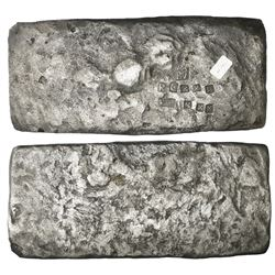 "Small ""tumbaga"" silver bar (""half-brick"" shape) #M-42, 2489 grams, stamped with assayer B~Vo, serial"