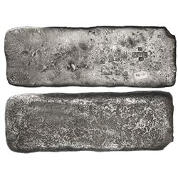 """Small """"tumbaga"""" silver bar (""""half-brick"""" shape) #M-40, 2454 grams, stamped with assayer/fineness IVI"""