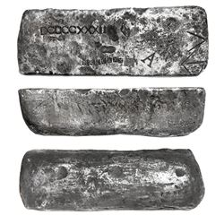 "Large silver bar #72, 83 lb 7.52 oz troy, Class Factor 1.0, dated ""Po(tosi) 1622"" in cartouche, foun"