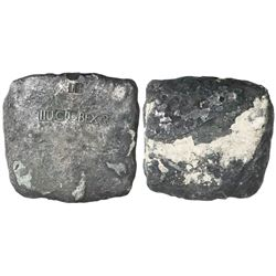 Rare and important silver ingot (square), 926 grams, marked with fineness IIUCL (2150/2400) and BEXA