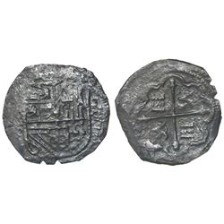 Mexico City, Mexico, cob 4 reales, Philip II, assayer F (oMF to left, 4 to right).