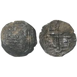 Mexico City, Mexico, cob 4 reales, Philip II or III, assayer F below denomination 4 to left, assayer