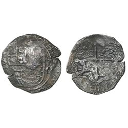 Mexico City, Mexico, cob 4 reales, Philip II or III, assayer F below mintmark oM to left (not visibl