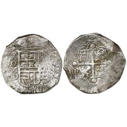 Mexico City, Mexico, cob 8 reales, Philip III, assayer D, Grade 2.