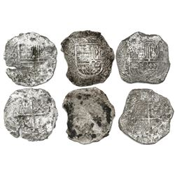 Lot of three Mexico City, Mexico, cob 8 reales, Philip III, assayer D (where visible), all Grade 3.