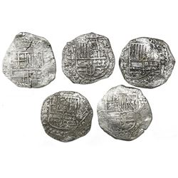 Lot of five Potosi, Bolivia, cob 8 reales, Philip III, assayer T or not visible, all Grade 2.