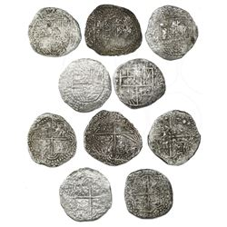 Lot of five Potosi, Bolivia, cob 8 reales, Philip III, various assayers (where visible), one Grade 2