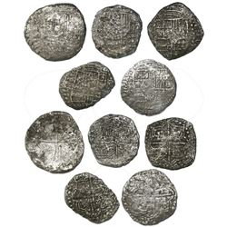 Lot of five Potosi, Bolivia, cob 8 reales, Philip III, various assayers (where visible), all Grade-3
