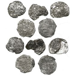 Lot of five Potosi, Bolivia, cob 8 reales, Philip III, various assayers (where visible), Grade 3 (4)