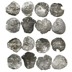 Lot of eight Potosi, Bolivia, cob 4 reales, Philip III, various assayers (where visible), all Grade