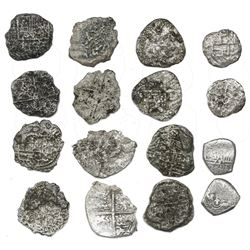 Lot of eight cob 2 reales (1 Mexico and 7 Potosi), Philip III, assayers not visible, all Grade 4, mo