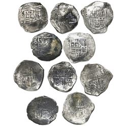 Lot of five Mexico City, Mexico, cob 8 reales, Philip III and IV, assayer D.