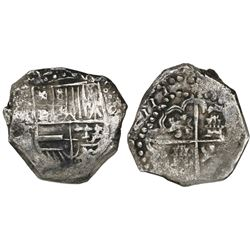 Potosi, Bolivia, cob 8 reales, (1)6ZIII (1623), assayer T, lions and castles transposed in shield an