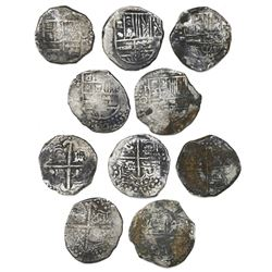Lot of five Potosi, Bolivia, cob 8 reales, Philip III and IV, assayers Q, T and P, some with quadran