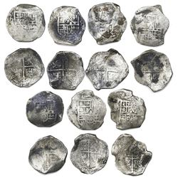 Lot of seven Potosi, Bolivia, cob 8 reales, Philip III and IV, assayers not visible.