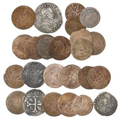 Lot of 25 French minors, including a 1575 silver teston of Henry III and 24 copper/billon liards, do
