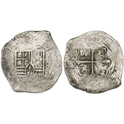 Mexico City, Mexico, cob 8 reales, Philip IV, assayer not visible (assayer P, ca. 1650).