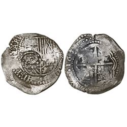 Potosi, Bolivia, cob 8 reales, 1651E, with crowned-dot-F-dot countermark (4 dots) on shield.