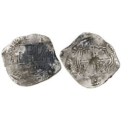 Potosi, Bolivia, cob 8 reales, (1651-2)E, with crowned-(?) countermark on cross.